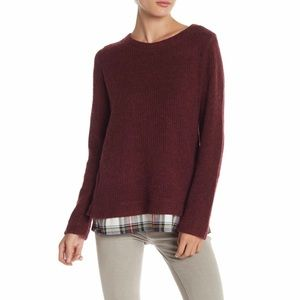 3/$25 Sanctuary Layered Plaid Sweater NEW